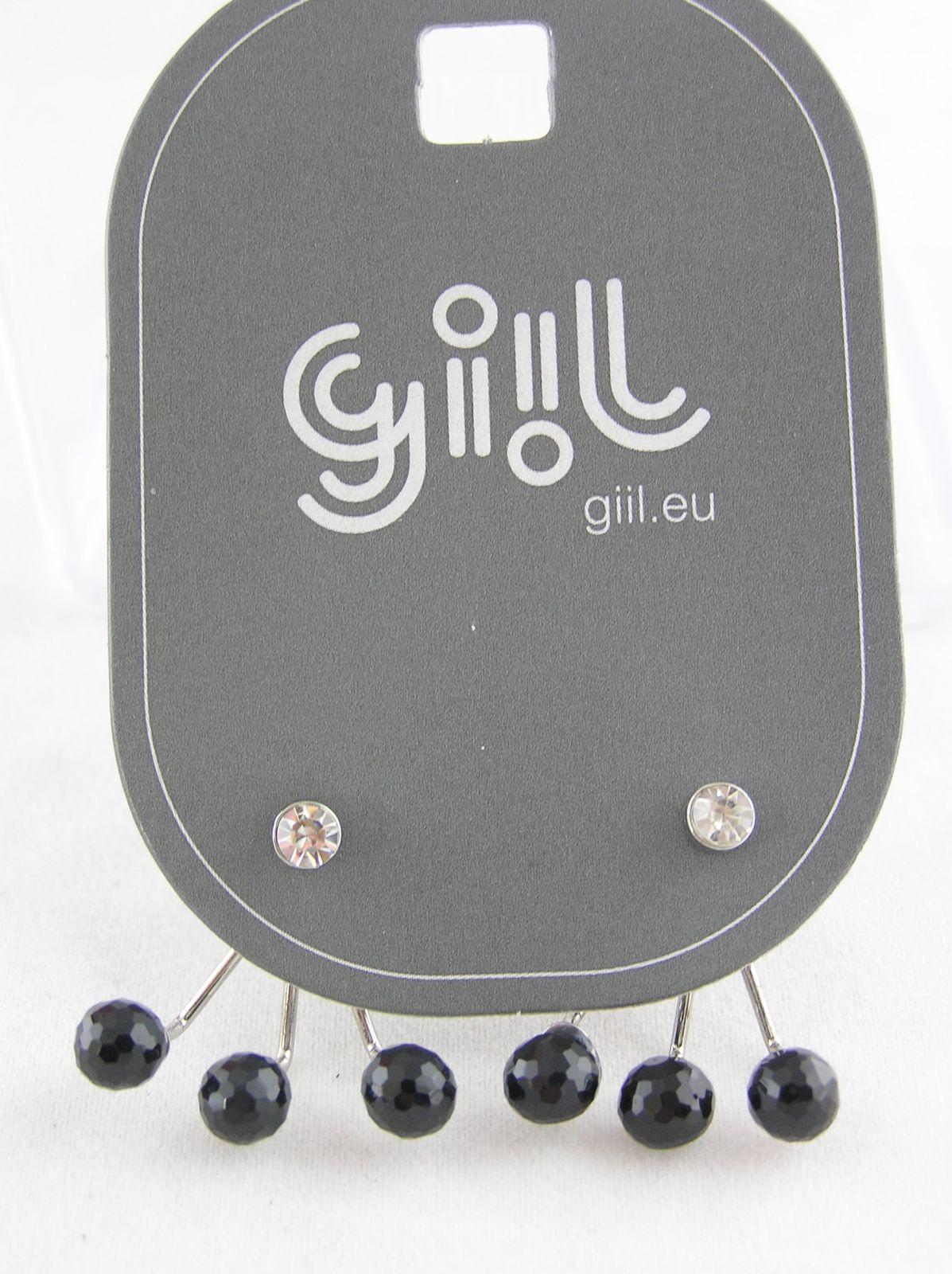 Náušnice 2 v 1 černé kuličky a čirý kamínek GIIL