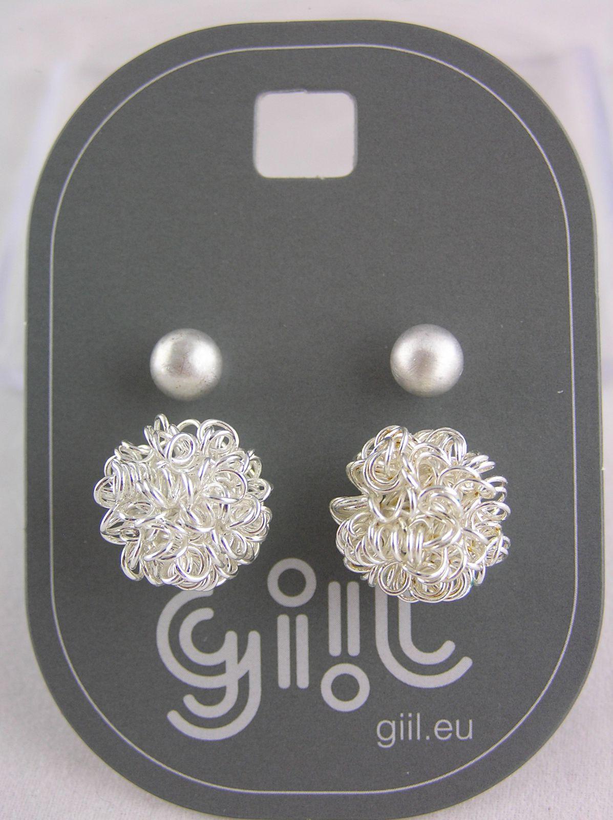 Dva páry stříbrných peckových náušnic perličky, lesklý chomáček drátků GIIL