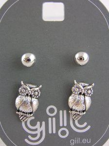 Dva páry stříbrných peckových náušnic perličky, sovičky