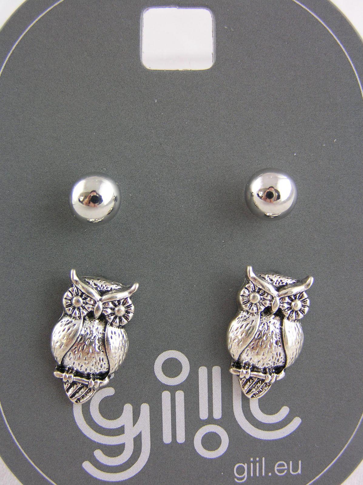 Dva páry stříbrných peckových náušnic perličky, sovičky GIIL