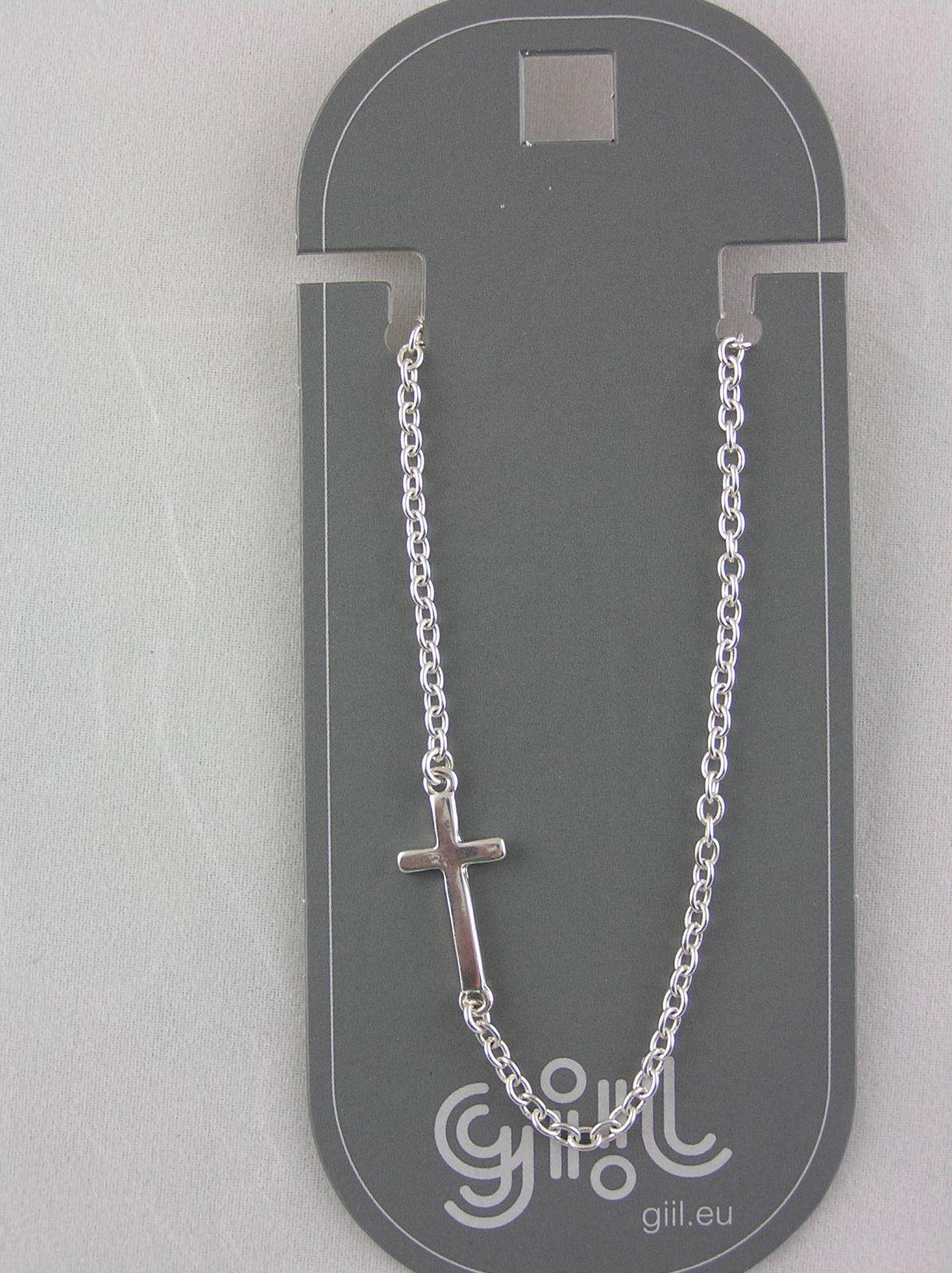 Kovový řetízkový náramek s křížkem GIIL
