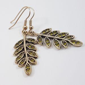 Listové náušnice se zelenými kamínky