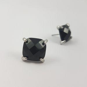 Náušnice s masivním černým kamínkem