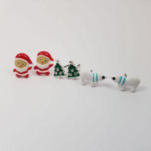 Sada náušnic - vánoční stromeček,Santa Claus a lední medvěd GIIL