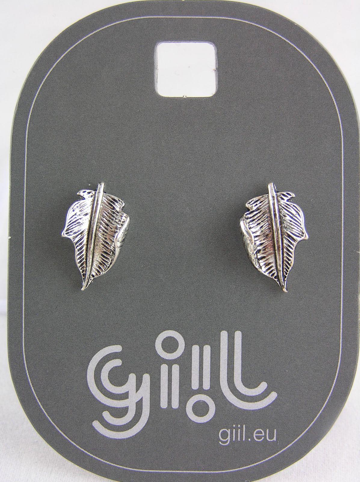 Starostříbrné peckové náušnice ve tvaru lístků GIIL