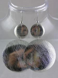 Stříbrné kruhové visací náušnice lesklý měsíc
