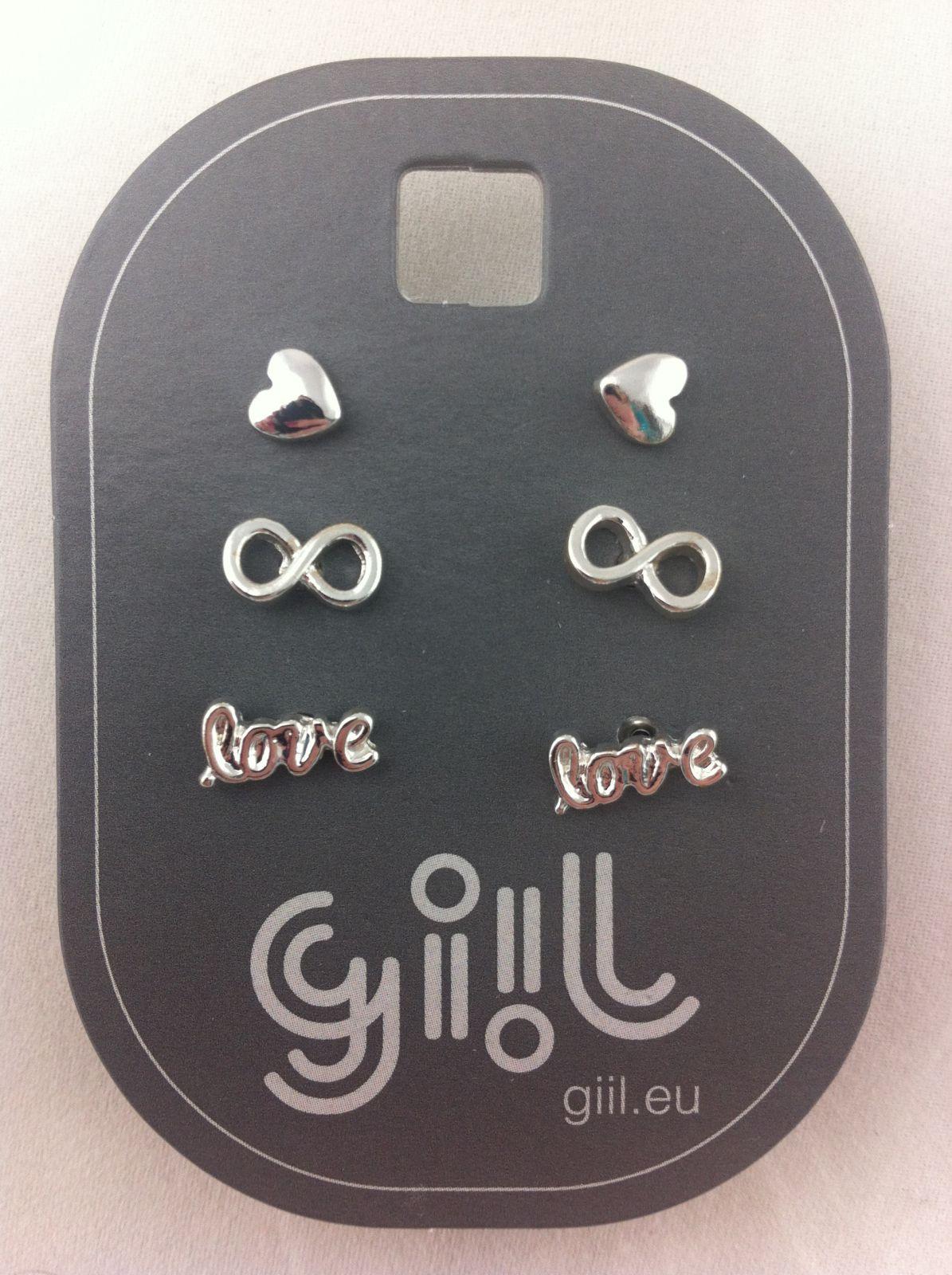 Stříbrné mini peckové náušnice Láska a Přátelství GIIL
