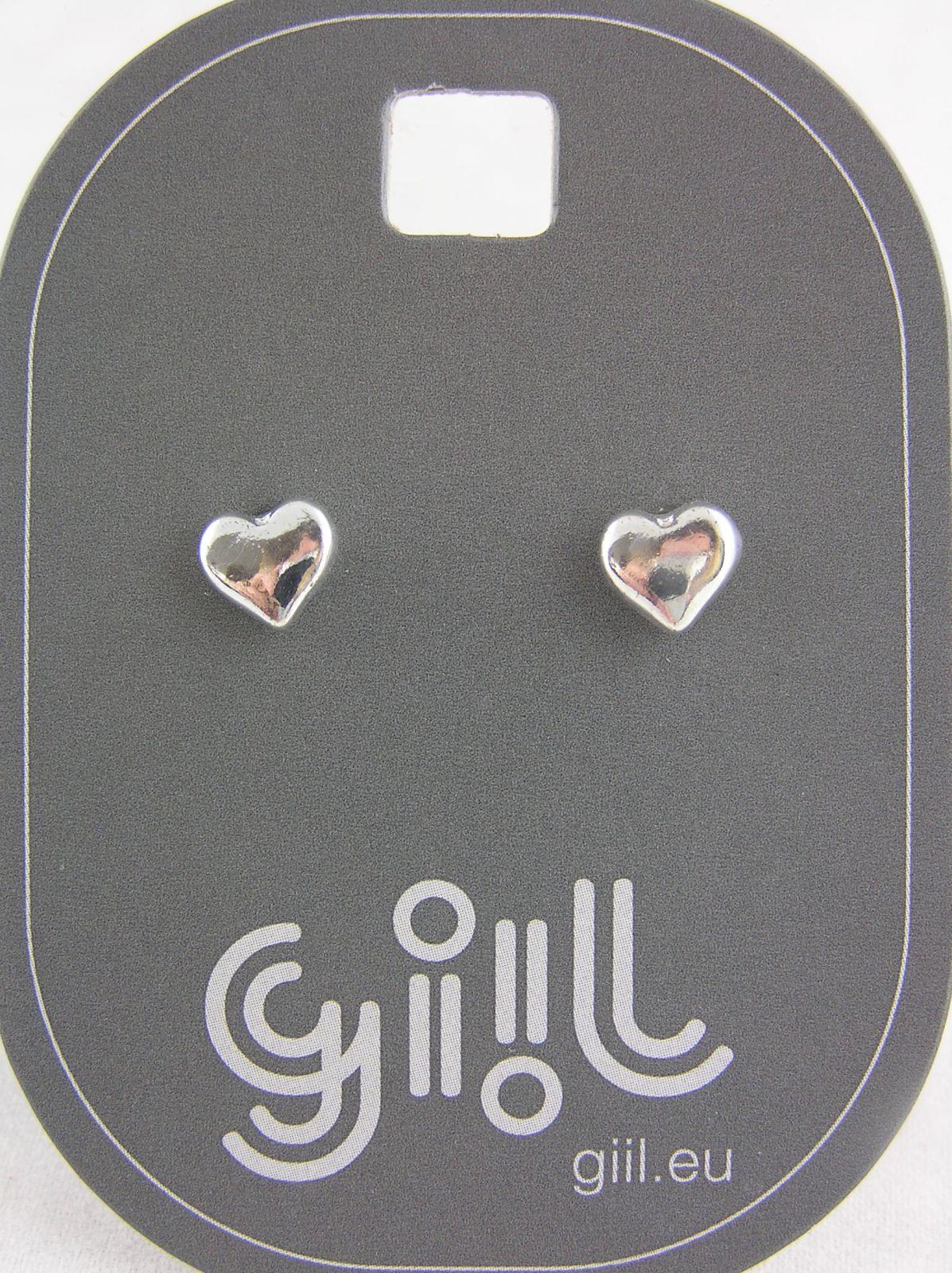 Stříbrné náušnice lesklá mini srdíčka GIIL