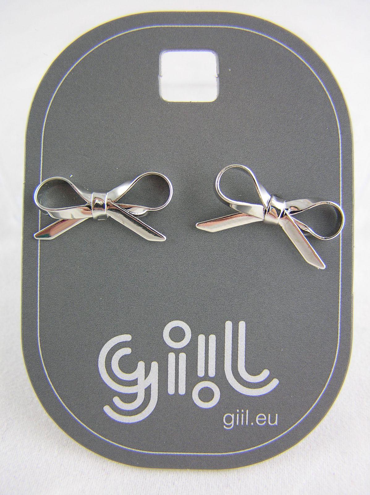 Stříbrné peckové náušnice lesklé mašličky GIIL