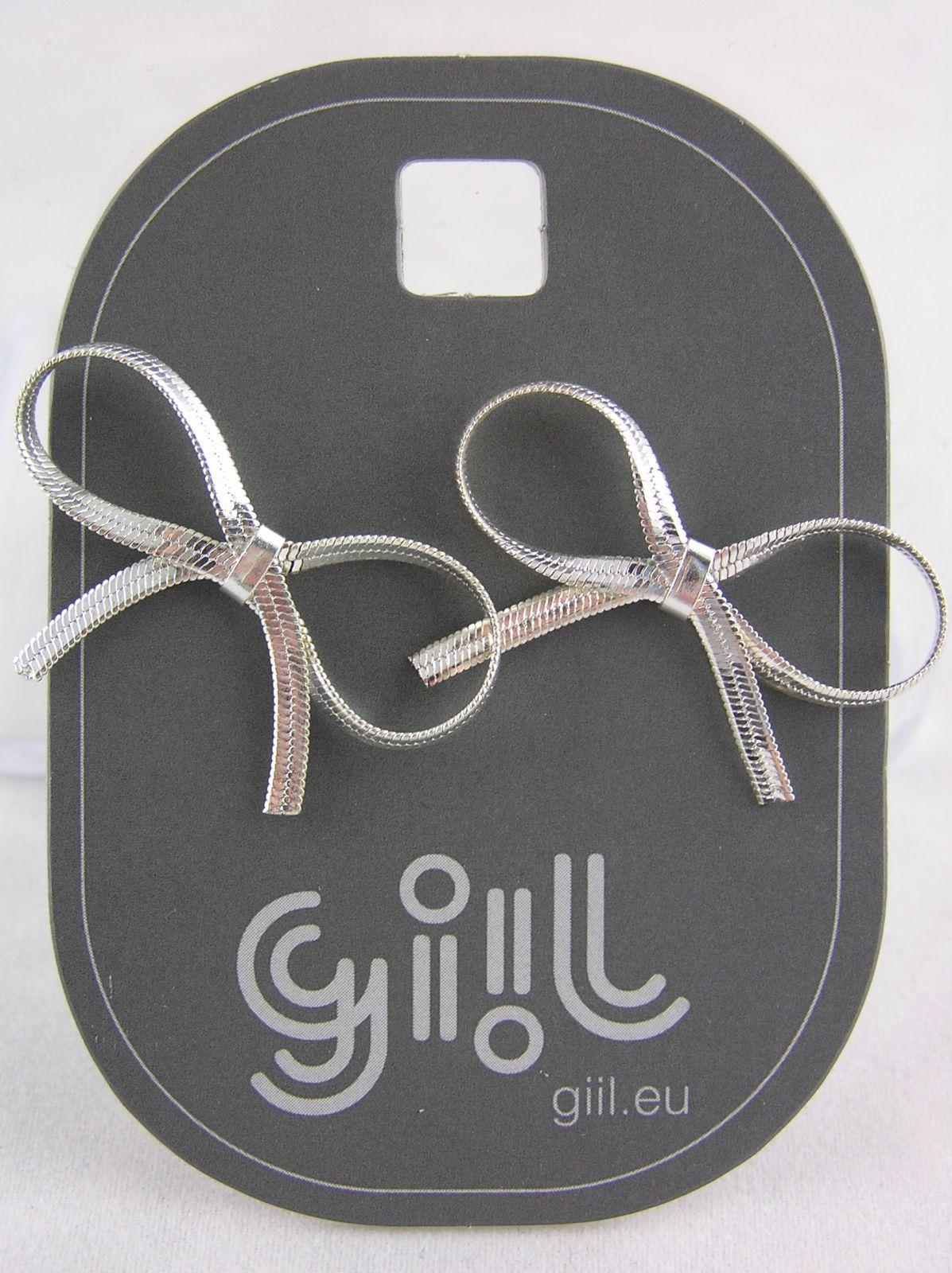 Stříbrné peckové náušnice mašličky GIIL