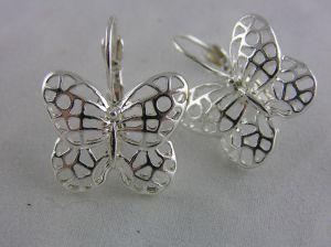 Stříbrné visací náušnice motýlci