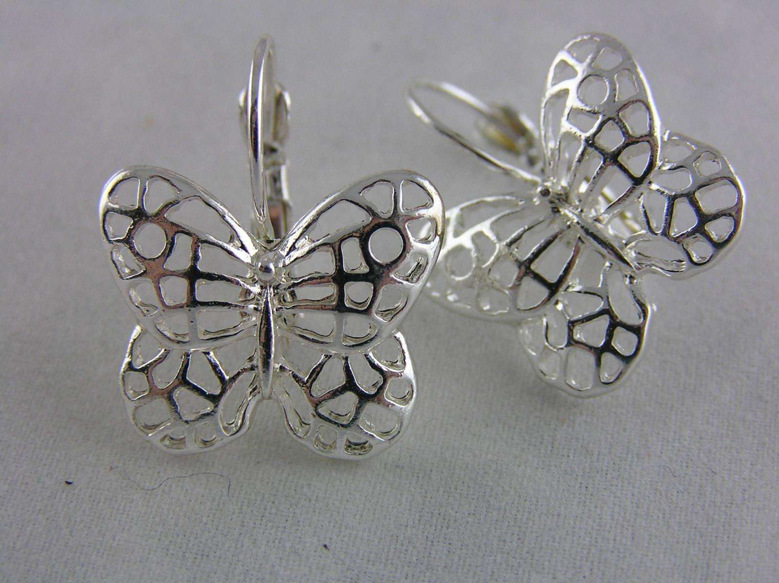 Stříbrné visací náušnice motýlci GIIL