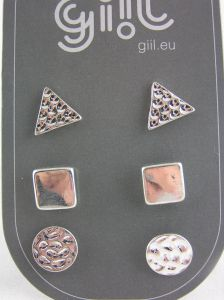 Tři páry stříbrných peckových náušnic geometrické tvary