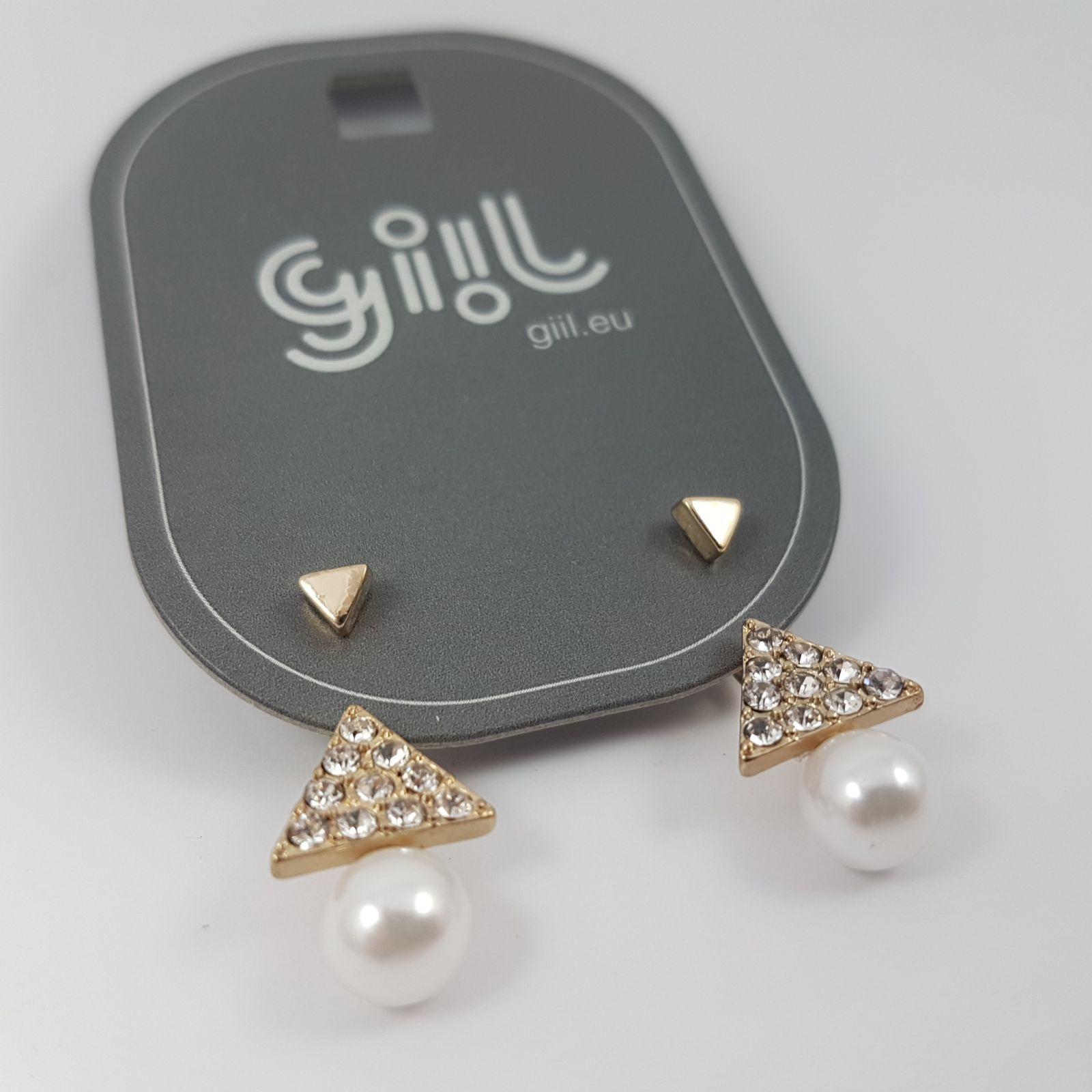 Trojuhelníkové náušnice s kamínky GIIL