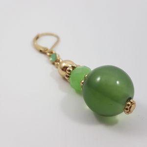 Zelené visací kuličkové náušnice