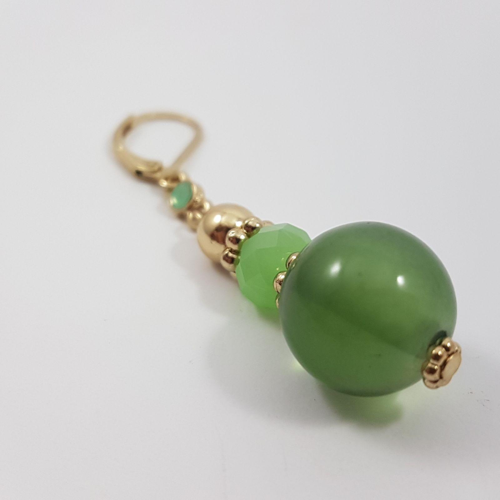 Zelené visací kuličkové náušnice GIIL