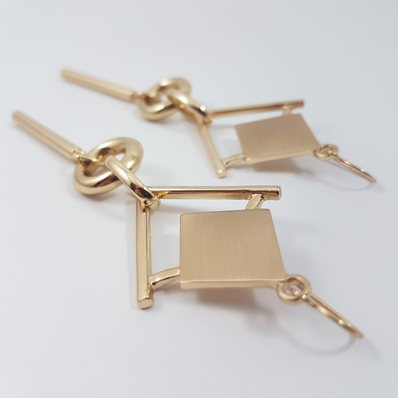 Zlatavé geometrické náušnice GIIL