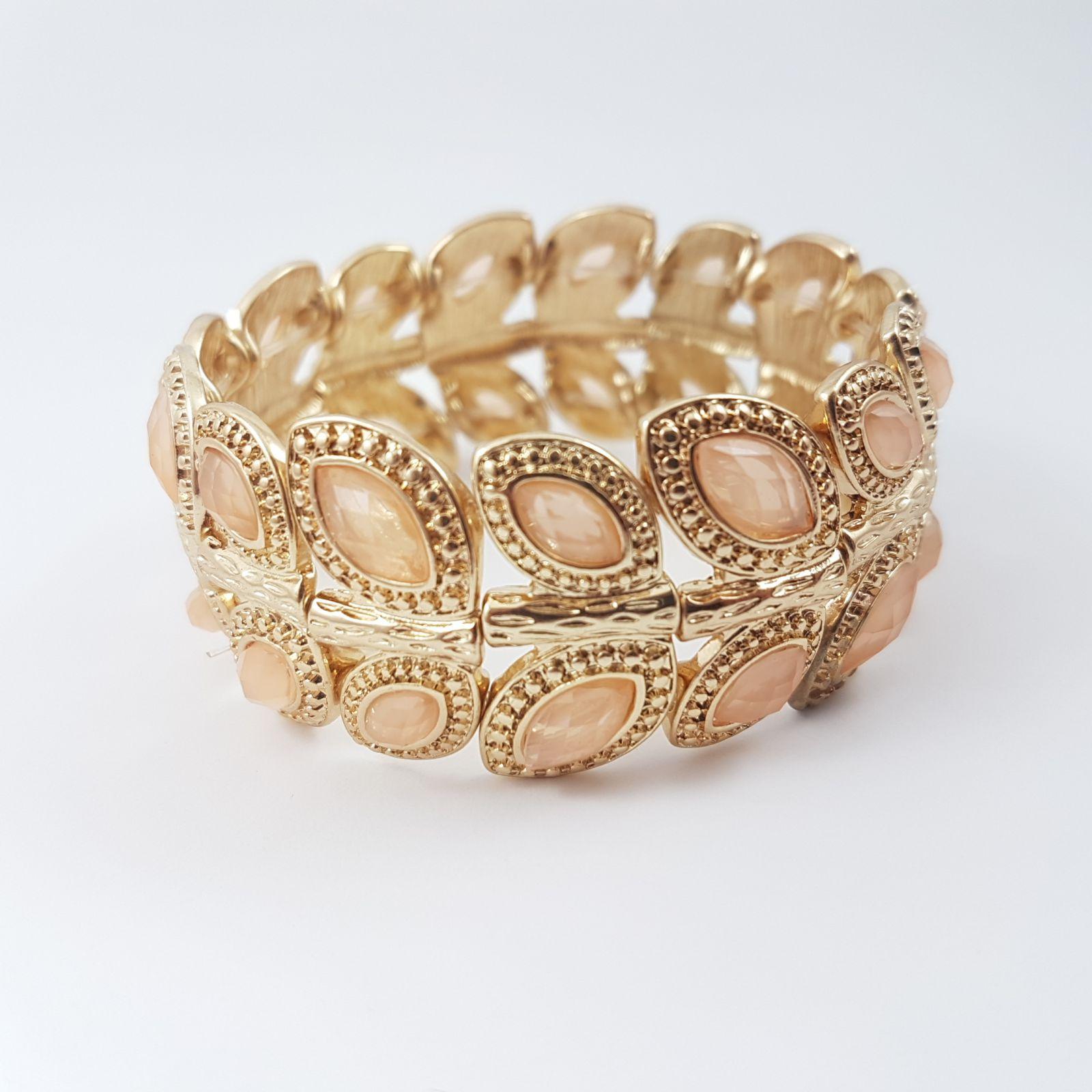 Zlatavý náramek s béžovými kamínky GIIL