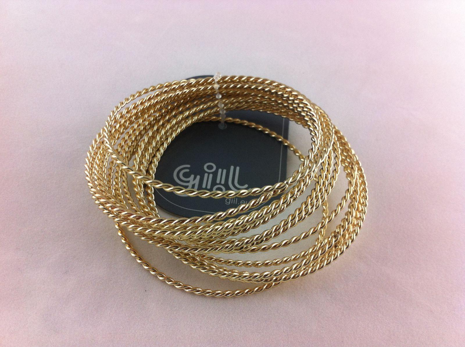 Zlaté navlékací náramky jemný pletený cop GIIL