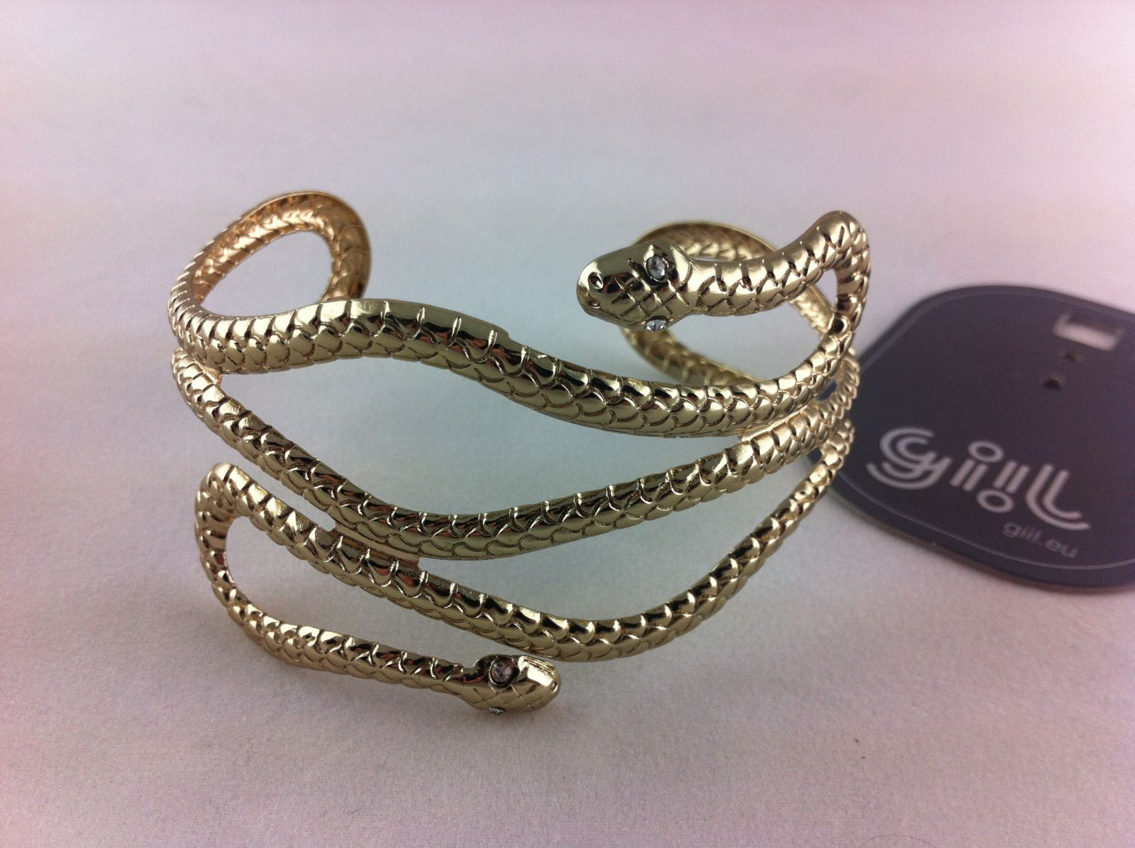 Antický náramek zlaté barvy hadí těla GIIL