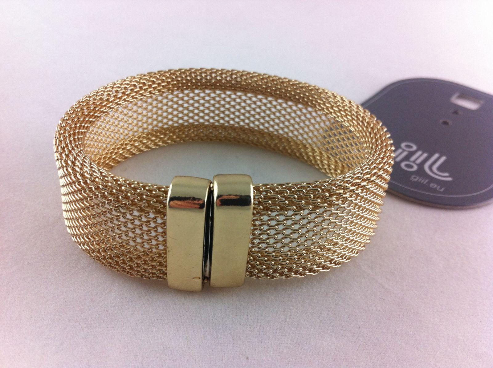 Zlatý drátkovaný náramek s magnetem GIIL