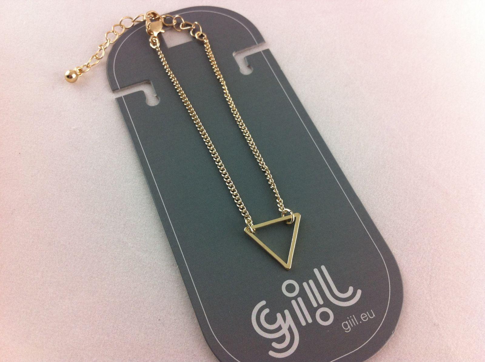 Zlatý jemný náramek s trojúhelníkem GIIL