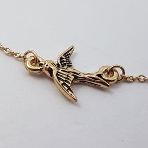 Zlatý řetízek na nohu s ptáčkem GIIL