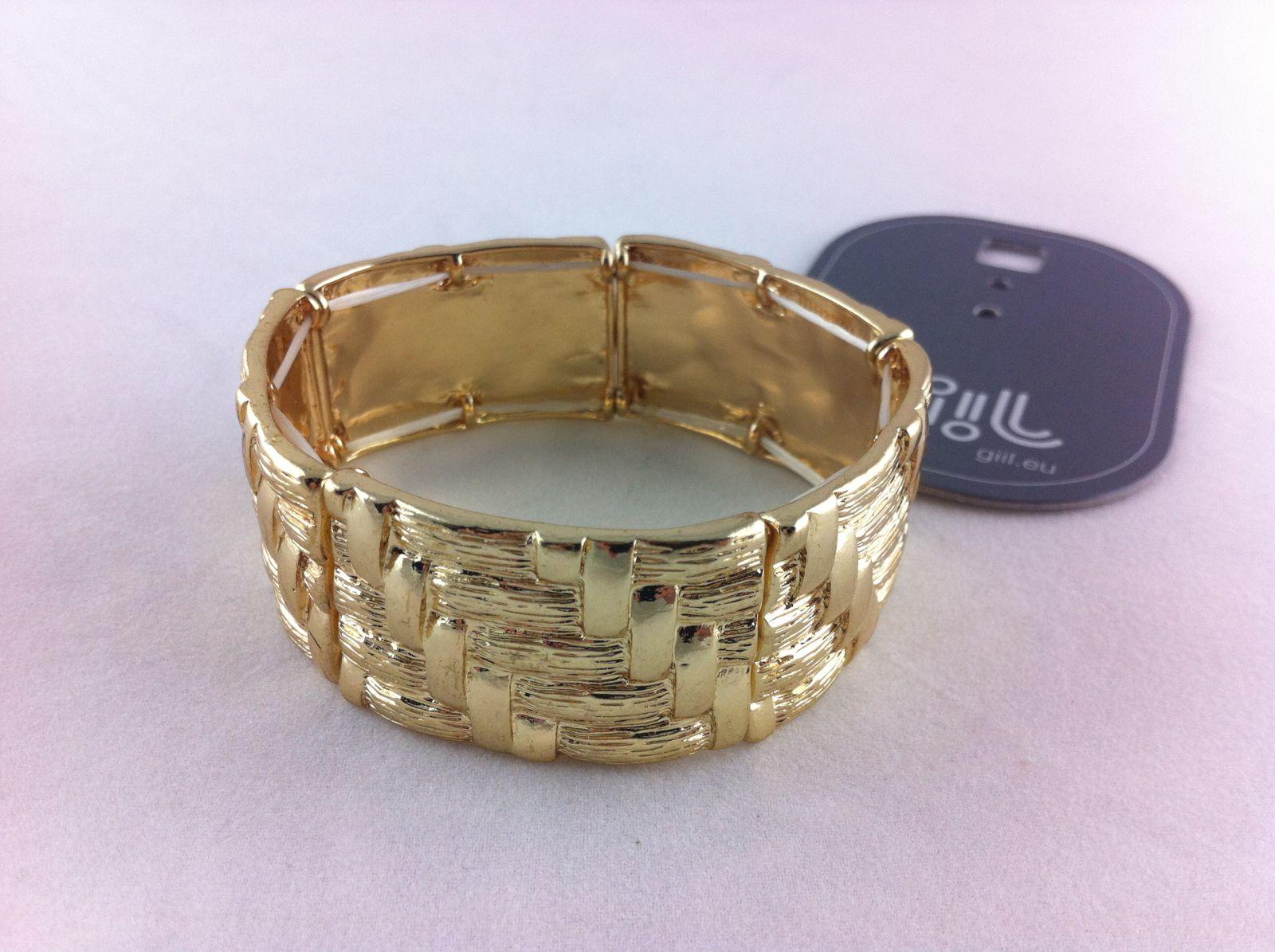 Zlatý tepaný náramek na gumičce GIIL