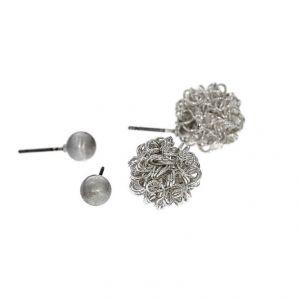 Dva páry stříbrných peckových náušnic perličky, lesklý chomáček drátků
