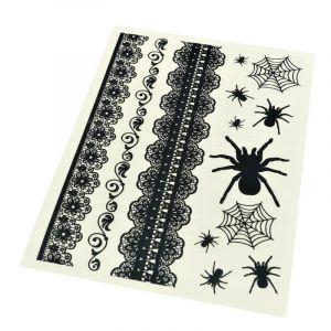 Halloweenské tetovačky pavučiny, pavouci a náramky