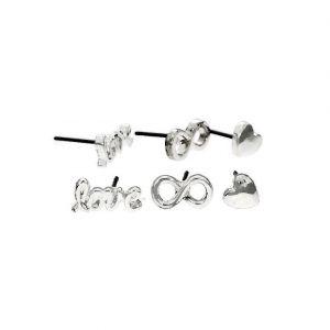 Stříbrné mini peckové náušnice Láska a Přátelství