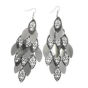 Mohutné stříbrné lustrové náušnice Kapky styl Rokoko