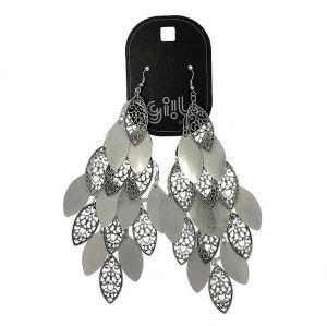 Mohutné stříbrné lustrové náušnice Kapky styl Rokoko1