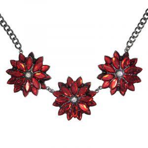 Náhrdelník se třemi červenými květy 2