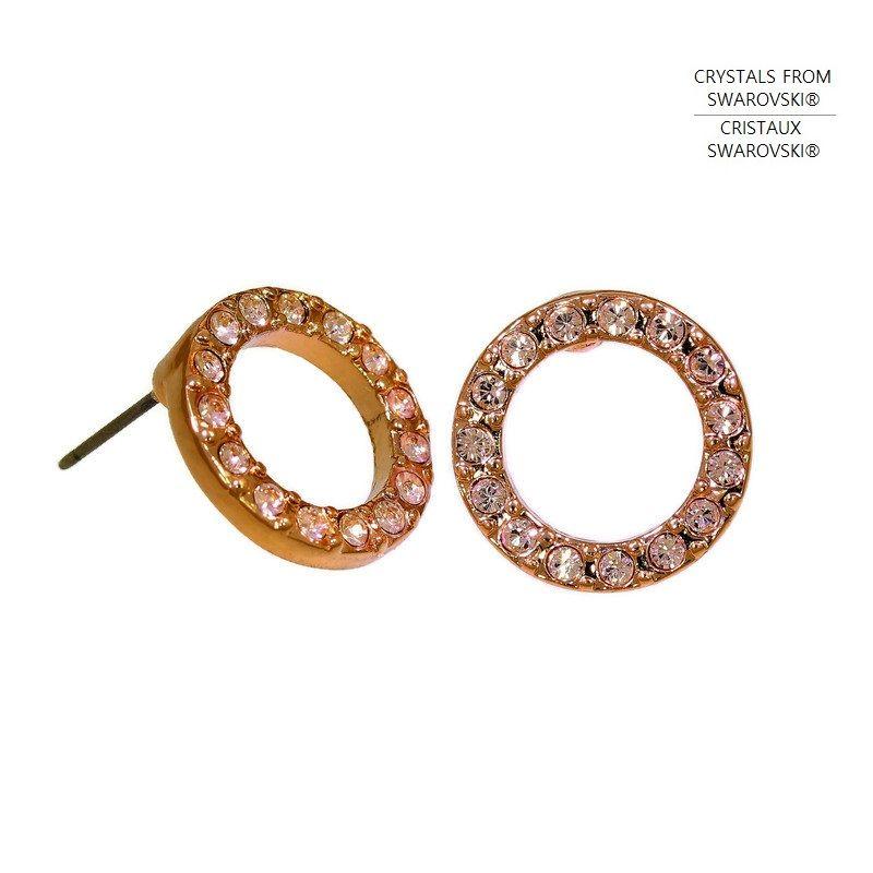 Náušnice malé kroužky s čirými křišťály Swarovski