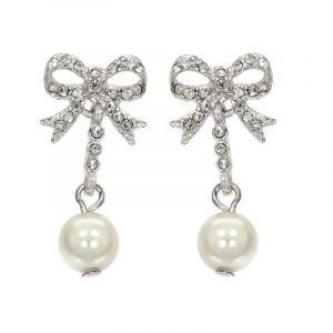 Náušnice mašlička s perličkou 776920