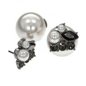 Náušnice pecky s kamínky a perličkami 702370