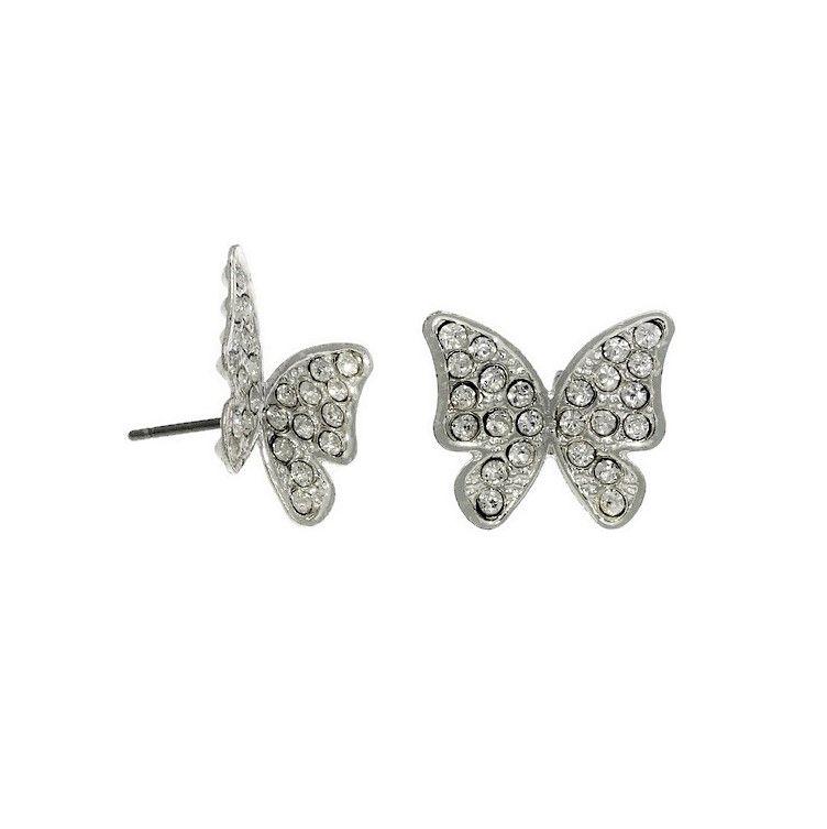 Náušnice s kamínkovými motýlkami