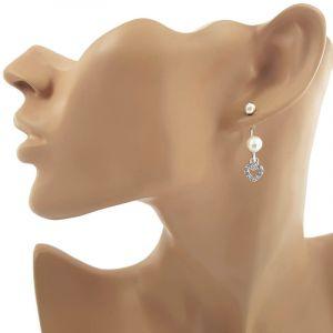 Náušnice s perličkou a srdíčkem 1