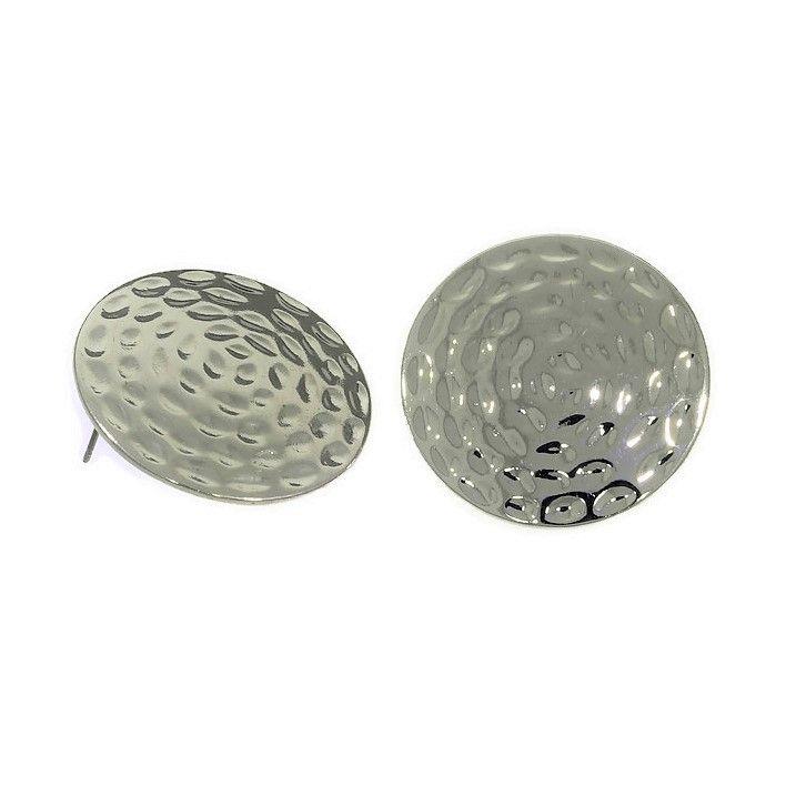Stříbrné náušnice tepané plné kruhy