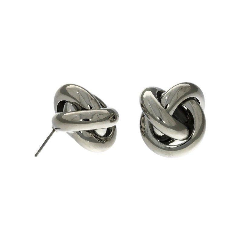 Stříbrné peckové náušnice ve tvaru uzlíku3