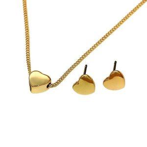 Sada náušnic a náhrdelníku s jemnými motivy srdíček ve zlaté barvě