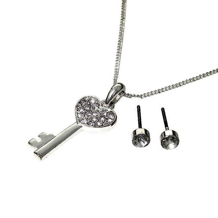 Set náušnic a náhrdelníku s přívěskem ve tvaru klíčku se srdíčkem