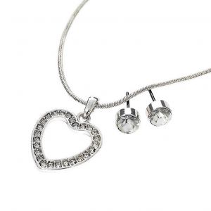 Set náušnic a náhrdelníku s přívěskem ve tvaru srdce