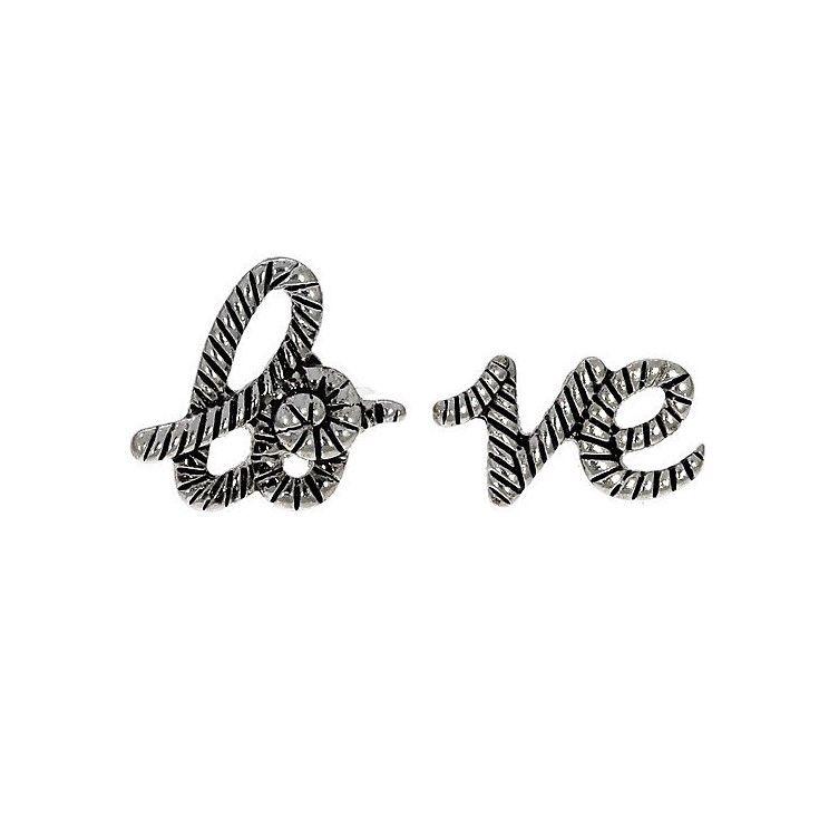 Starostříbrné peckové náušnice Love (Láska)