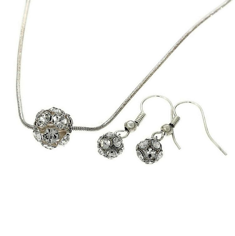 Sada náušnice a náhrdelník kamínkové kuličky