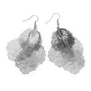 Stříbrné houpací náušnice ve tvaru lístečků