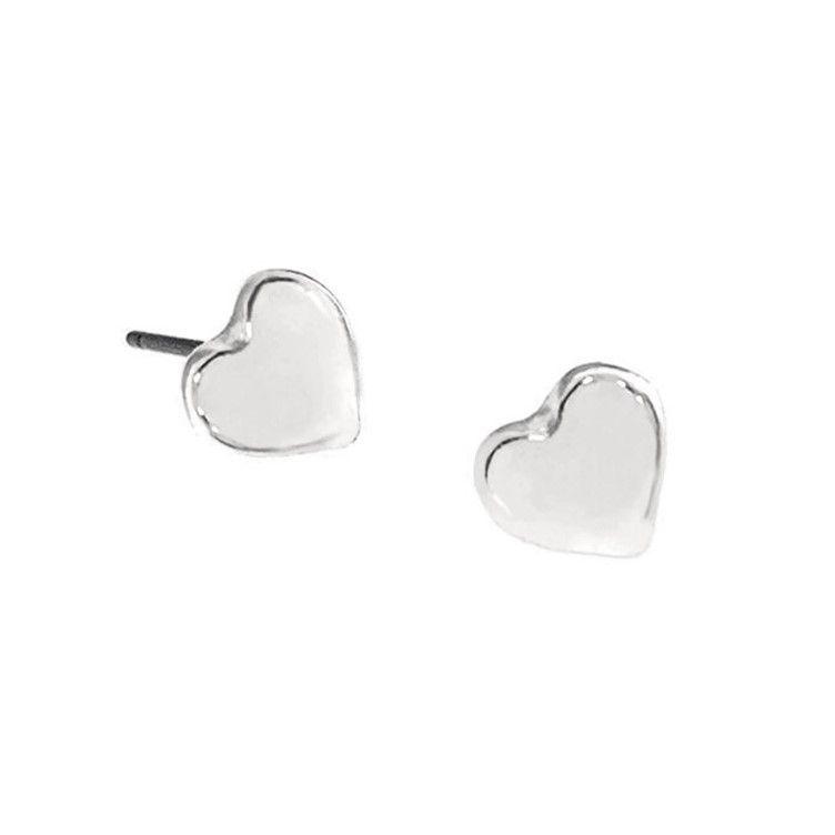 Stříbrné náušnice lesklá mini srdíčka 1