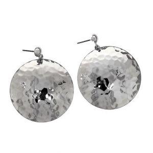 Stříbrné visací kruhové náušnice tepané placky