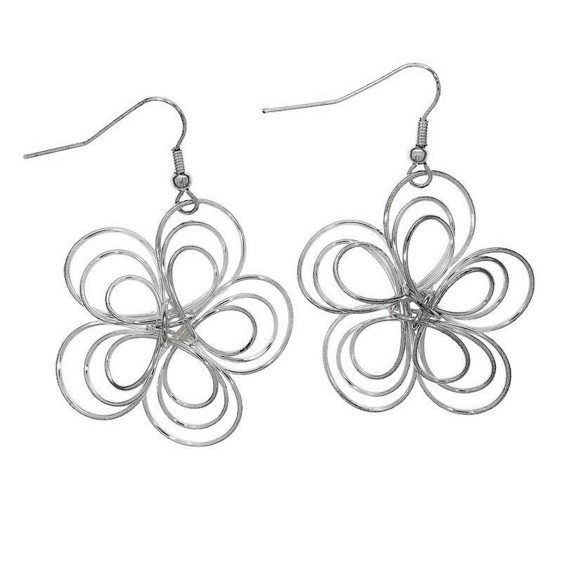 Stříbrné visací náušnice květy